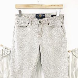 Lucky Brand Tan Boho Printed Sofia Skinny Jeans